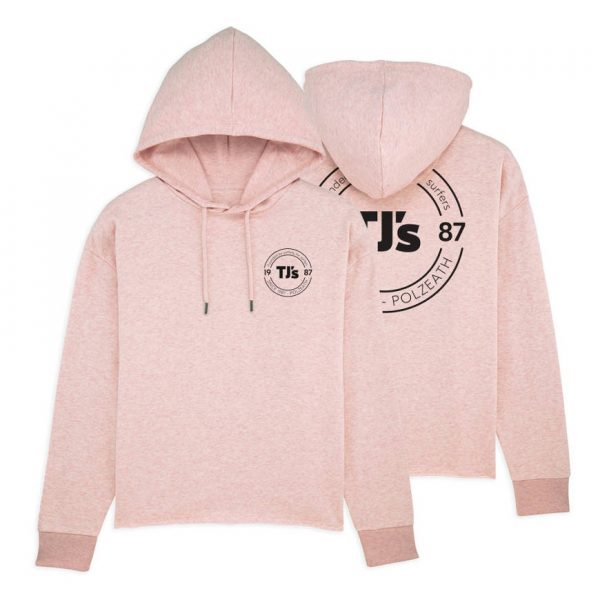 Lady pink hoodie front and back